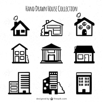 Set of hand drawn different houses