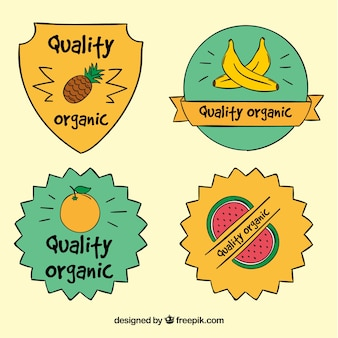 Set of hand-drawn ecological fruit stickers