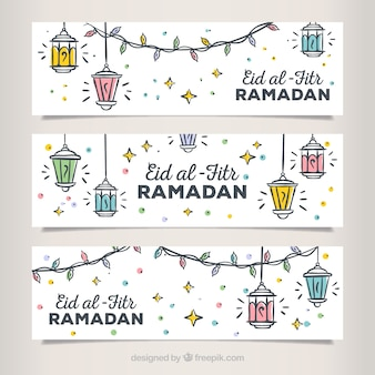 Set of hand drawn eid al fitr banners