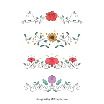 Set of hand drawn floral ornaments