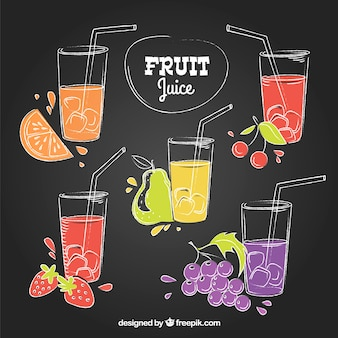 Set of hand-drawn fruit juice