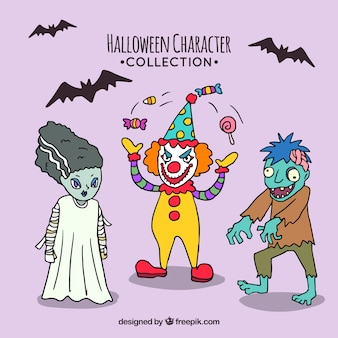 Set of hand drawn halloween characters