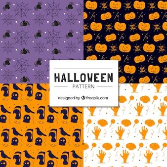 Set of  hand-drawn halloween patterns