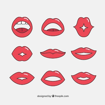 Set of hand-drawn lips with expressions