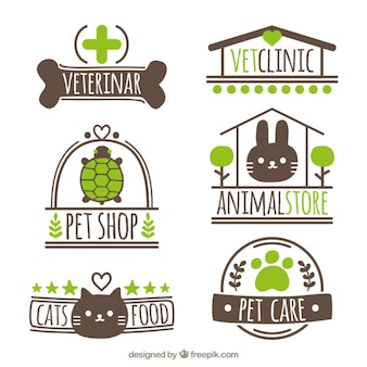 Set of hand-drawn logos for pet shop