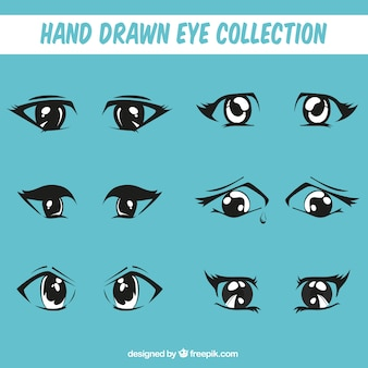 Set of hand drawn looks