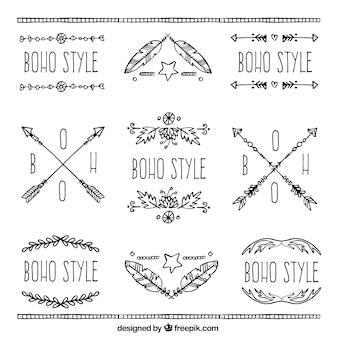 Set of hand-drawn ornamental boho stickers