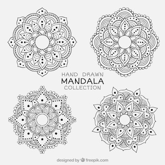 Set of hand drawn ornamental mandalas