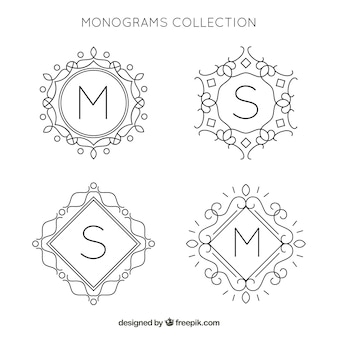 Set of hand drawn ornamental monogram