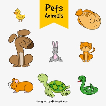 Set of hand-drawn pets
