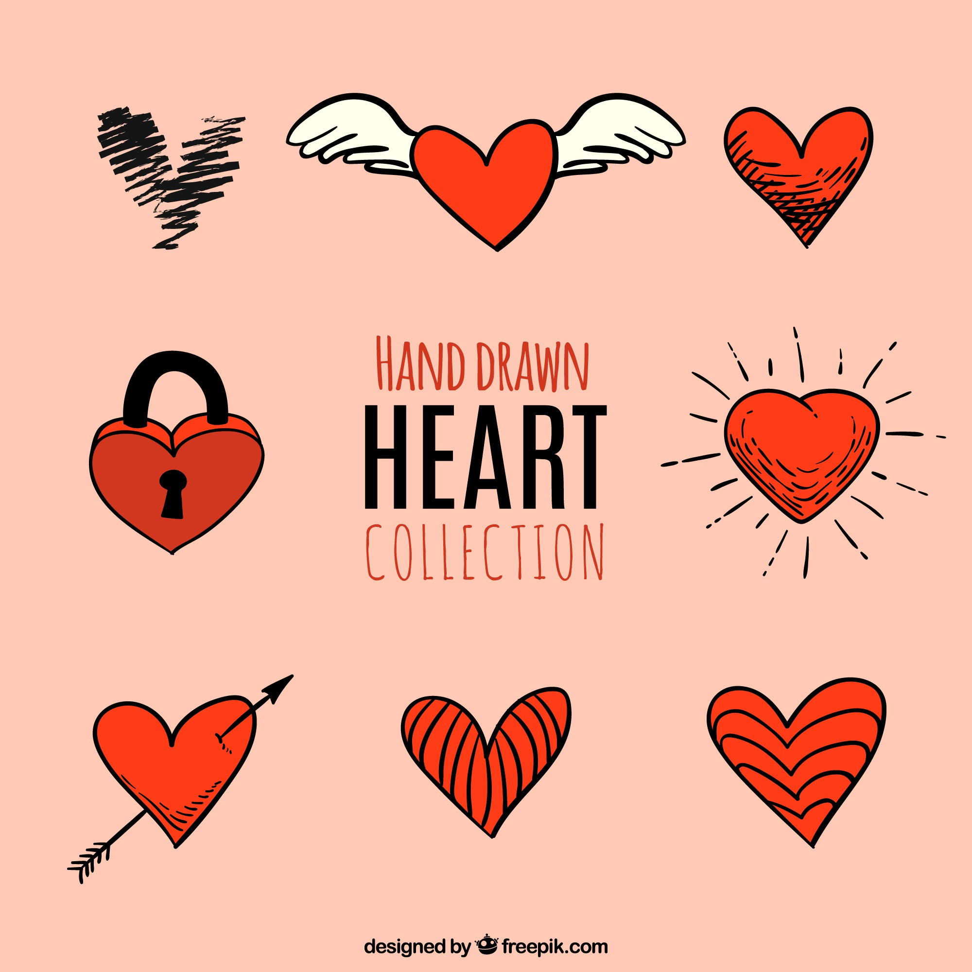 Set of hand drawn red hearts