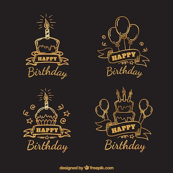 Set of hand drawn retro birthday stickers