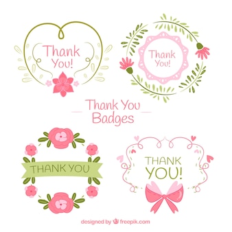 Set of hand drawn retro thank you stickers