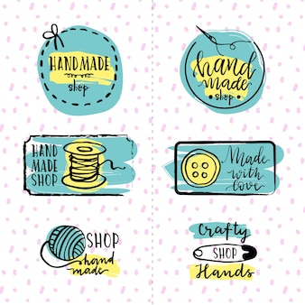 Set of hand-drawn sewing stickers