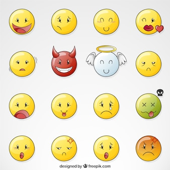 Set of hand drawn smileys with angel and demon