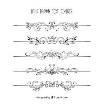Set of hand drawn text dividers in victorian style
