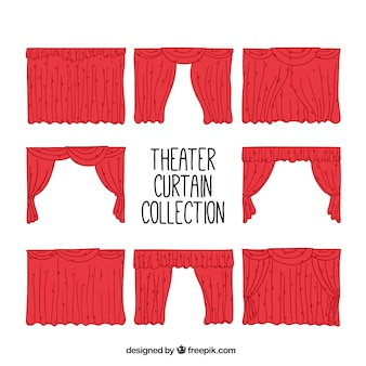 Set of hand drawn theater curtains