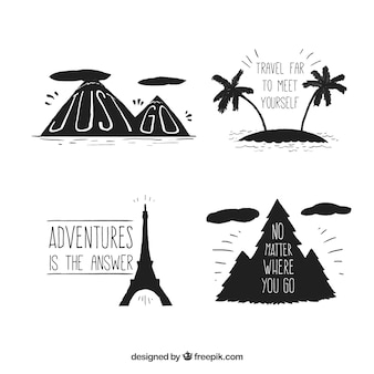 Set of hand drawn travel elements silhouettes