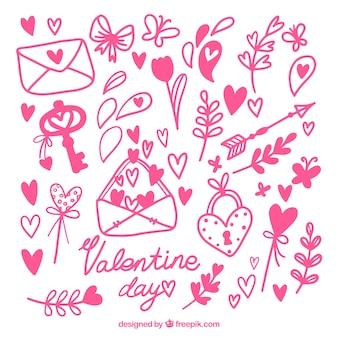 Set of hand-drawn valentine's day elements
