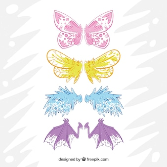Set of hand drawn wings of creatures