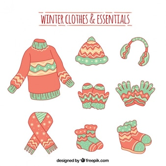 Set of hand drawn winter clothes and accessories