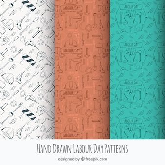Set of hand drawn work day patterns