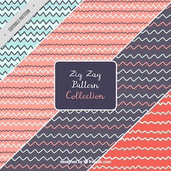Set of hand drawn zig zag patterns