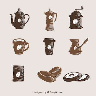 Set of hand-painted coffee accessories
