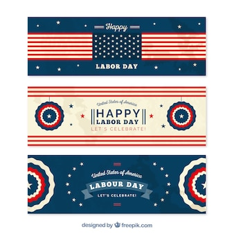 Set of happy american labor day banners