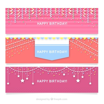 Set of happy birthday banners in pink tones