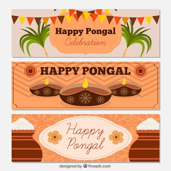 Set of happy decorative pongal banners