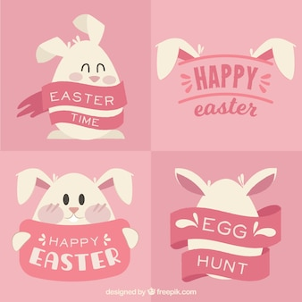 Set of happy easter cards with lovely bunny