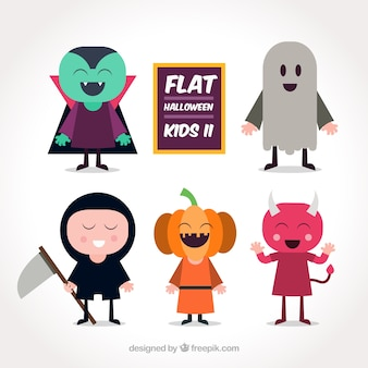 Set of happy kids with funny costumes