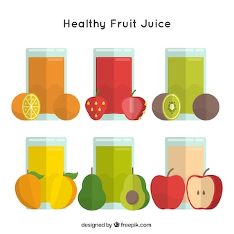 Set of healthy fruit juices