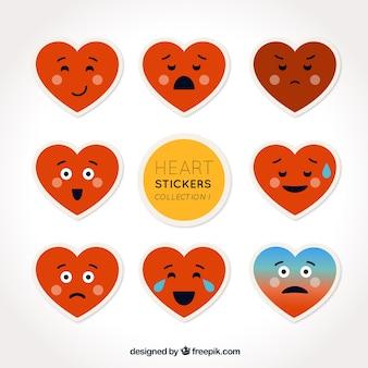 Set of hearts emoticon stickers
