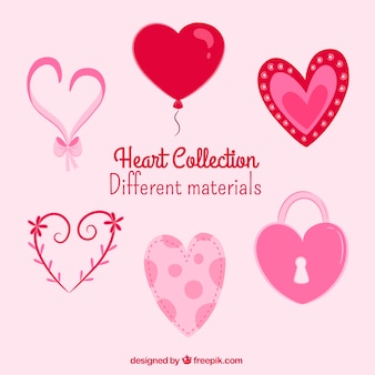 Set of hearts in retro style