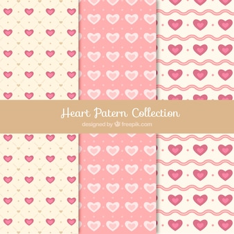 Set of hearts patterns in retro style