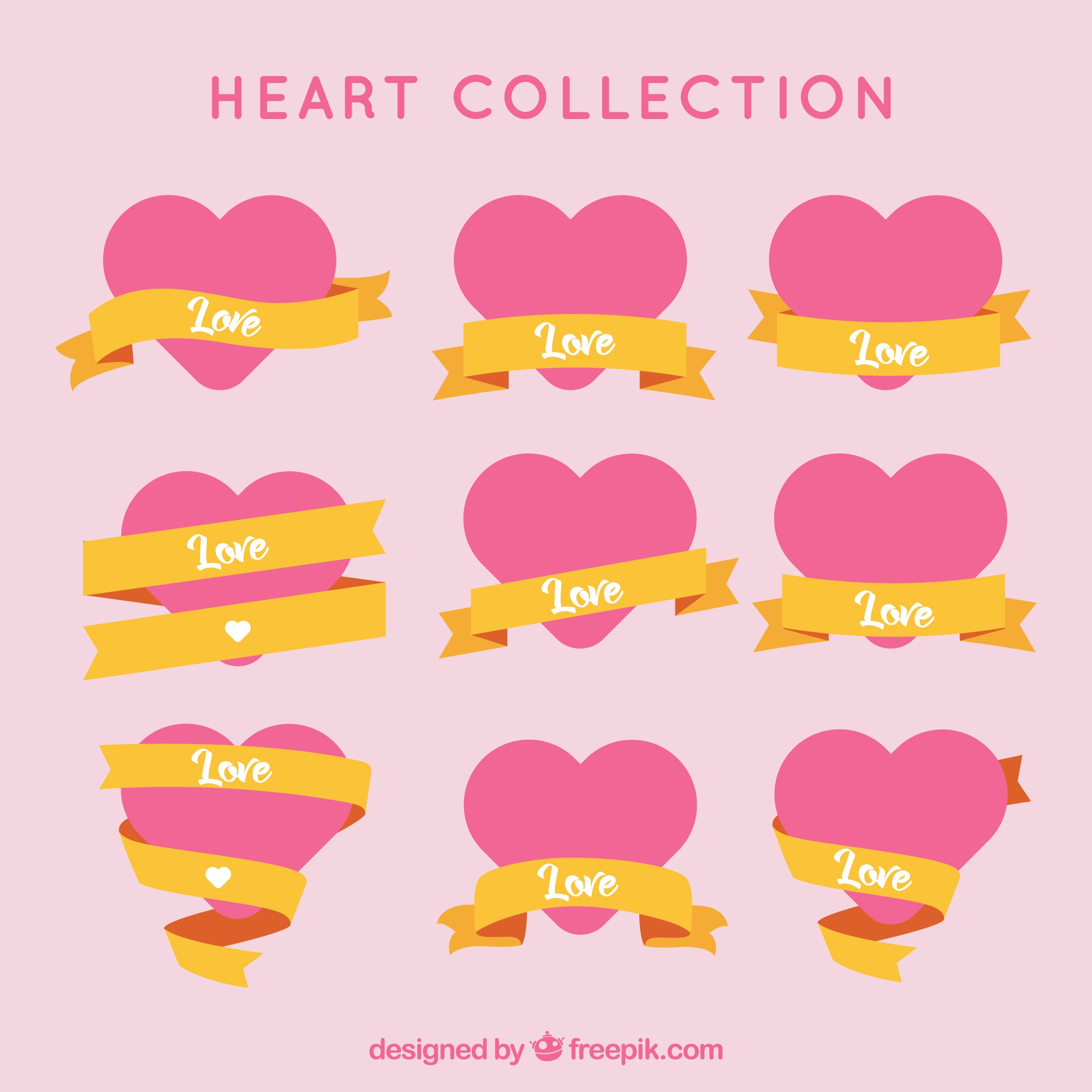 Set of hearts with golden ribbons