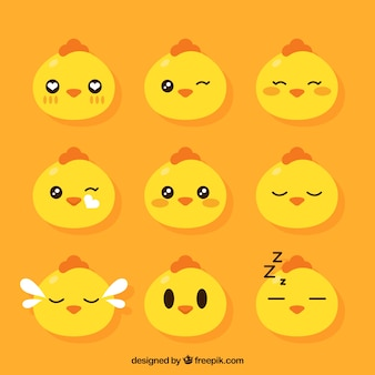 Set of hen emoticons