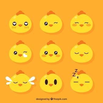 Set of hen emoticons