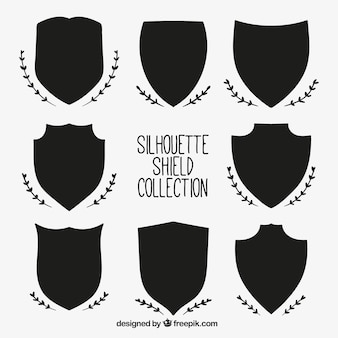 Set of heraldic shield silhouettes