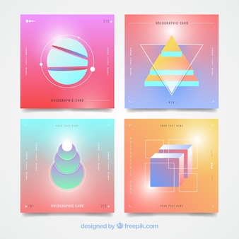 Set of holographic cards with geometric shapes
