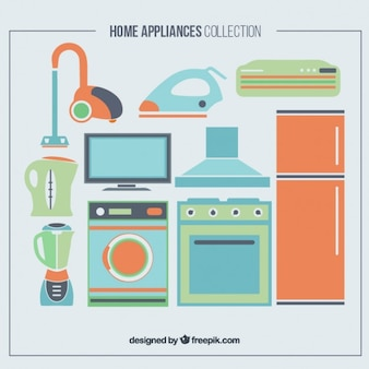 Set of home appliances in colors