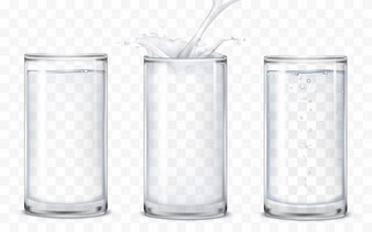 Set of icons glasses with a drink
