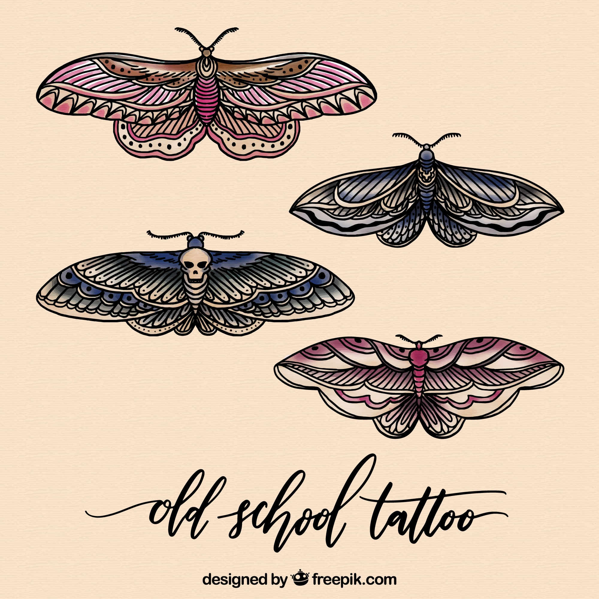 Set of illustrated butterflies
