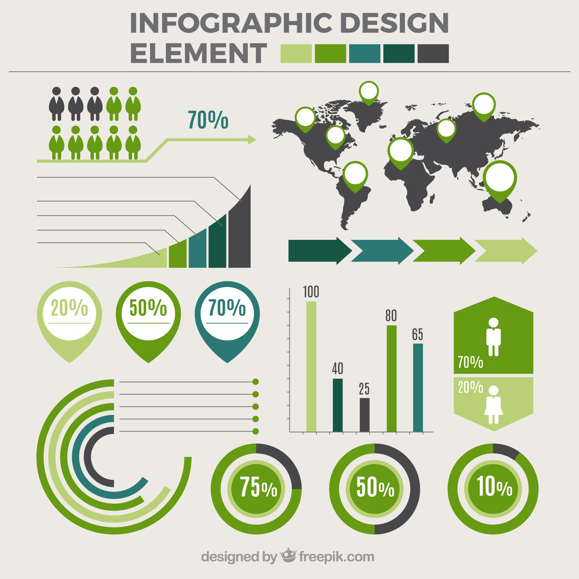 Set of infographic elements with green details