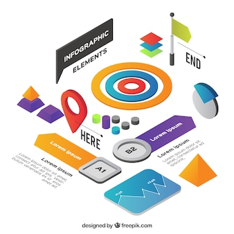 Set of infographic features in isometric style