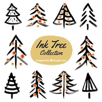 Set of ink christmas trees