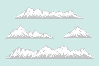 さまざまな形の孤立した山々のセット。雪山のベクトルのイラストの範囲