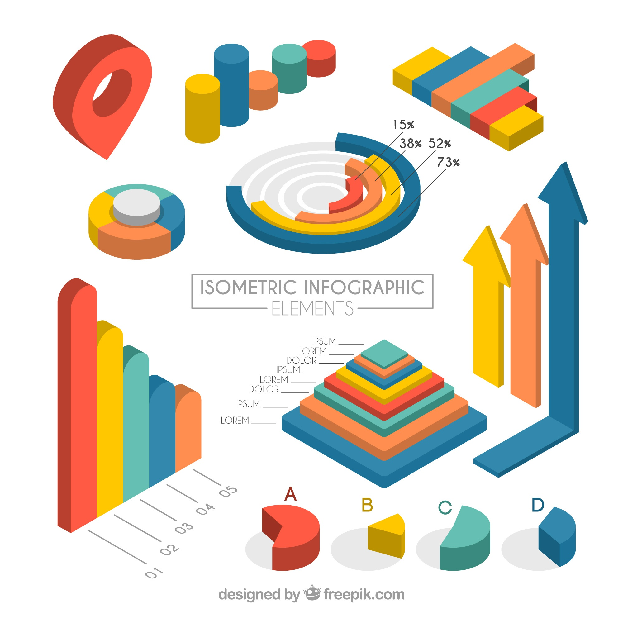 Set of isometric infographic elements